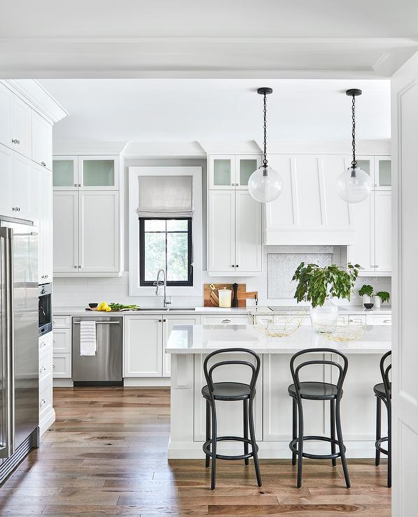 Black Bentwood Counter Stools At White Kitchen Island Transitional Kitchen