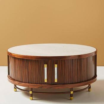 Proctor Low Round Wood Brass Coffee Table
