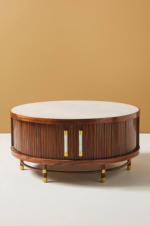 Deluxe Tamboured Round Storage Coffee Table