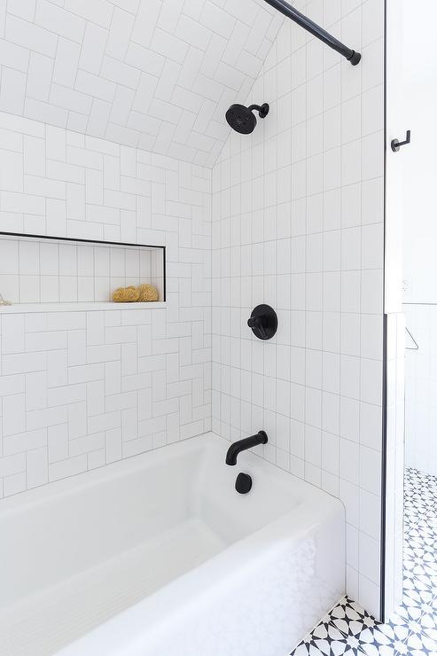shower niche with black trim design ideas