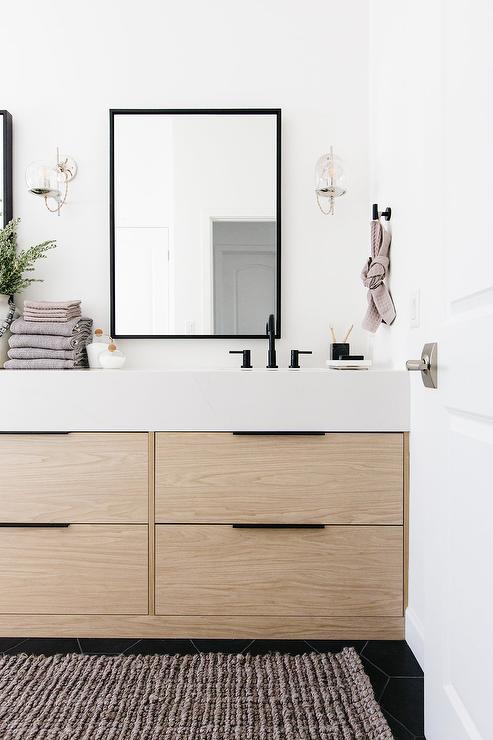 Blond Oak Veneer Bath Vanity With Black Mirror Modern Bathroom