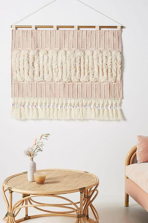 blush home decor.htm faye blush tufted fringed wall hanging  faye blush tufted fringed wall hanging