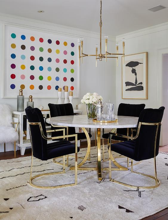 Round Capiz Dining Table With Black Velvet Dining Chairs Contemporary Dining Room