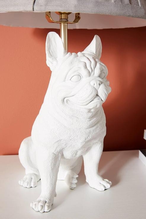 Frank Frenchie White Dog Table Lamp, French Bulldog Lamp
