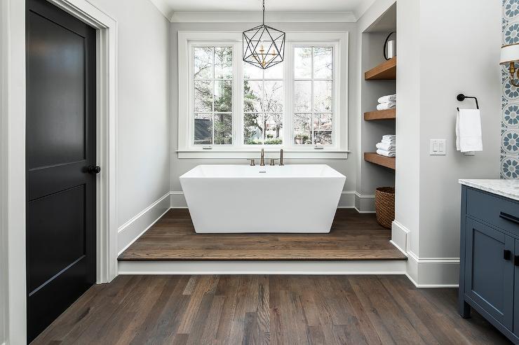 Step Up To Rectangular Freestanding Bathtub Transitional Bathroom