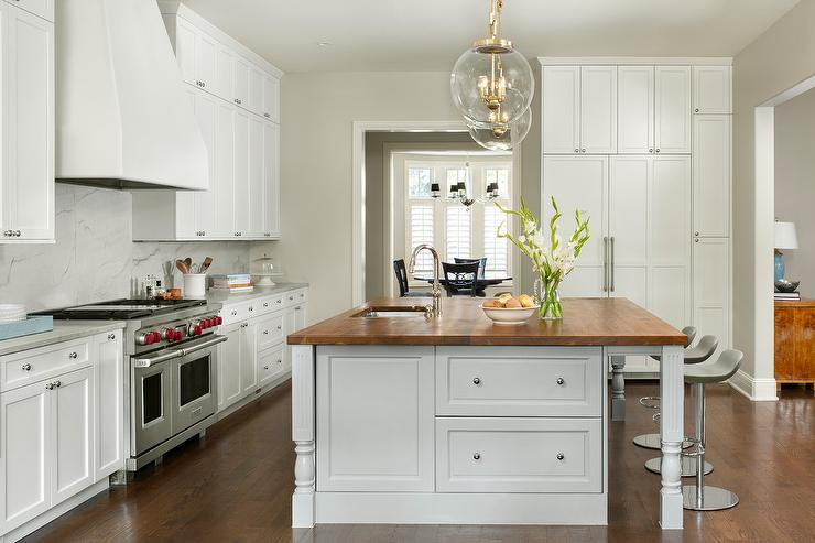 Gray Painted Kitchen Island With Wood Countertop Transitional