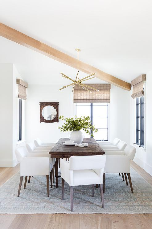 White Fabric Dining Chairs At Dark Brown Table Transitional Dining Room
