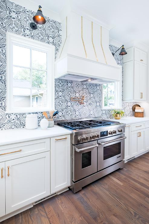 Black And White Mosaic Kitchen Backsplash Tiles Transitional Kitchen