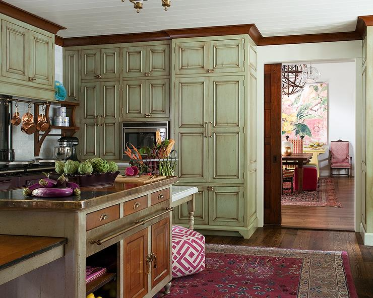 Distressed Green Kitchen Cabinets With Brass Pulls Eclectic Kitchen