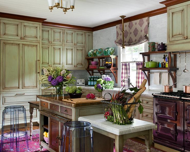 Green And Purple Kitchen With Large Purple Area Rug Eclectic Kitchen