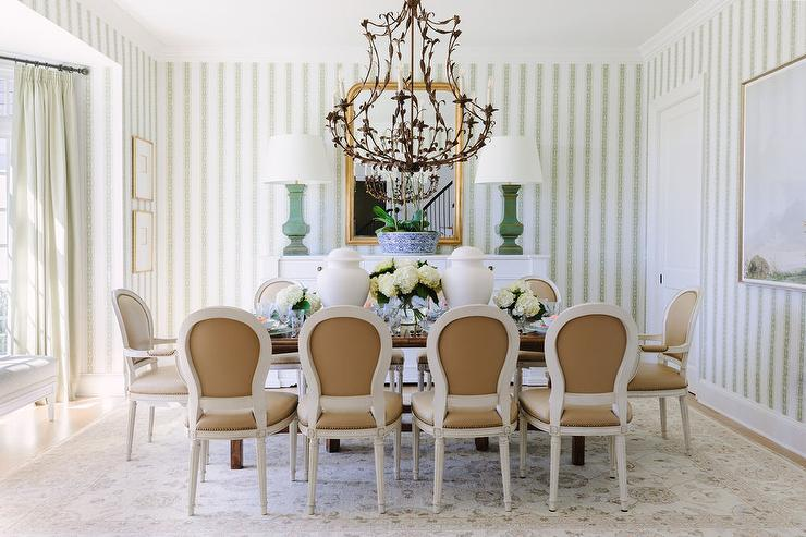 White And Brown French Dining Chairs Transitional Living Room