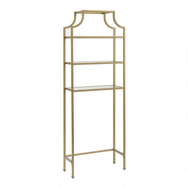 Milayan Gold Metal Glass Bathroom Shelf