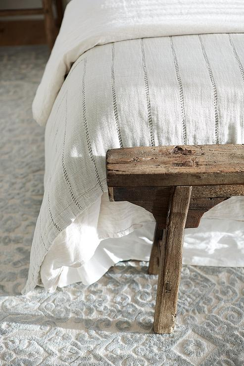 Reclaimed Wood Sawhorse Bench At Foot Of Bed Transitional Bedroom