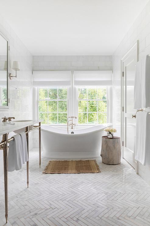 Marble Herringbone Pattern Bath Floor Tiles Transitional Bathroom