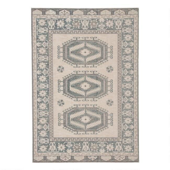 Lima Light Teal Gray Medallion Indoor