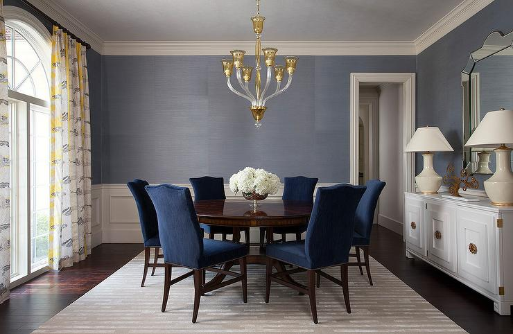Blue Velvet French Dining Chairs At, Blue Dining Room
