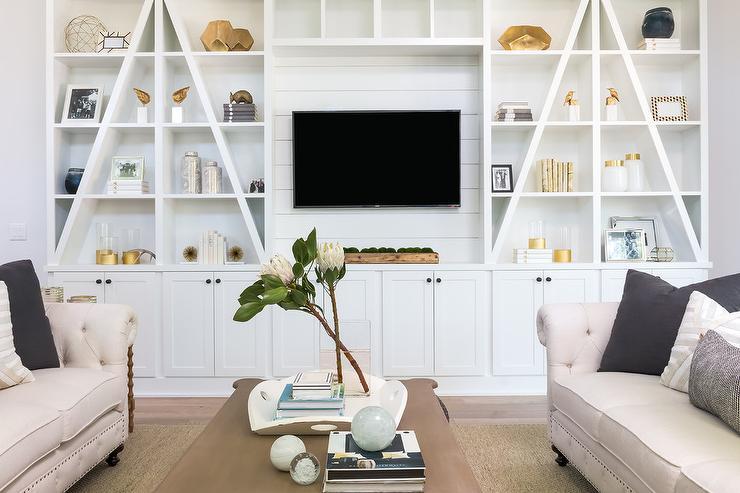 Custom White Built In Bookshelves Traditional Living Room