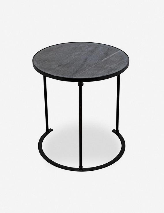Mariko Round Black Marble Iron Side Table - Black Metal Narrow End Table