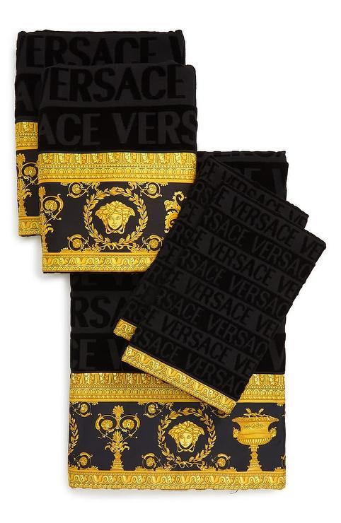 Versace Barocco Gold Black 5 Piece Towel Set