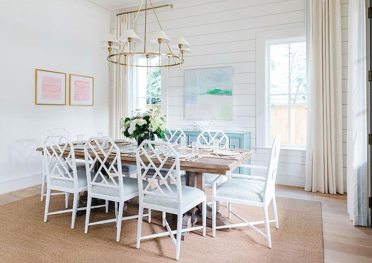 Dining Room Shiplap Accent Wall With Blue Wooden Cabinet Cottage Dining Room