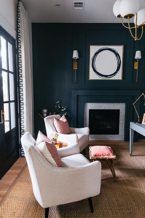Black Paneled Accent Wall With Black Fireplace Mantel Transitional Den Library Office