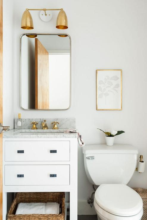 Powder Room With Mixed Metals Transitional Bathroom