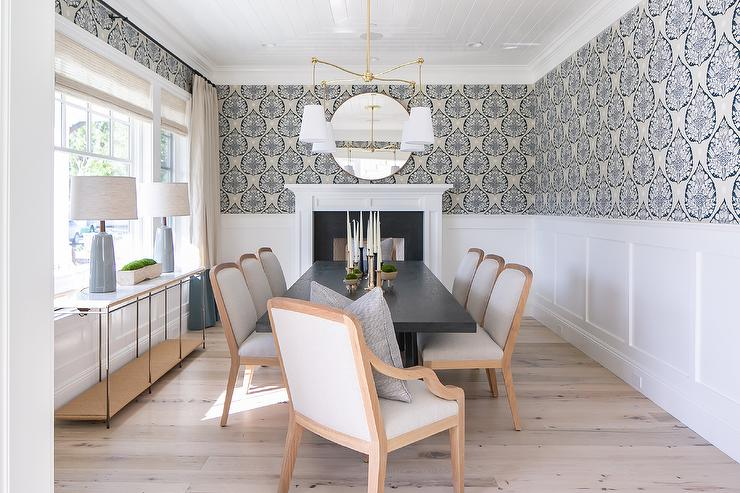Blue Wallpaper With Wainscoting, Dining Room Wallpaper Wainscoting