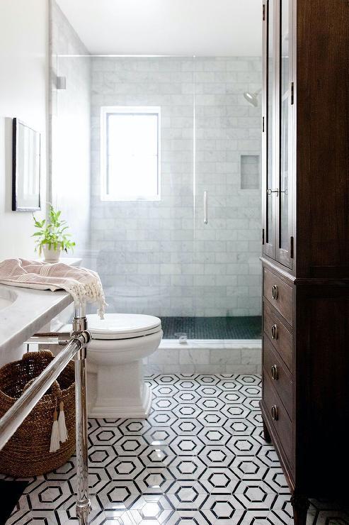 Black And White Marble Hexagon Bath Floor Tiles Transitional Bathroom