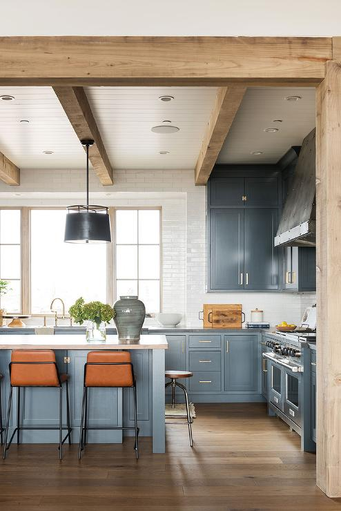 wood butcher block countertops floor decor.htm orange stools at blue kitchen island transitional kitchen  orange stools at blue kitchen island