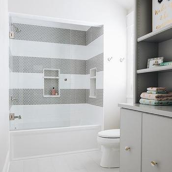 Shower With White And Gray Striped Tiles Design Ideas