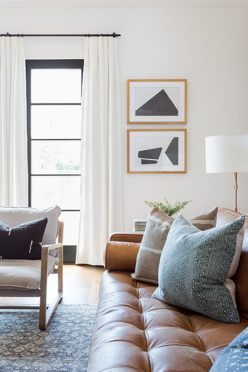 Orange Damask Curtains Contemporary Living Room