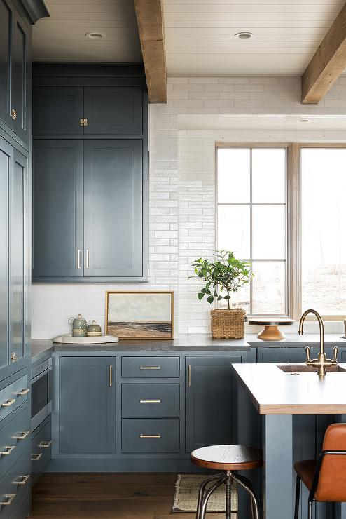 Blue Inset Cabinets With White Glazed Tiles Transitional Kitchen