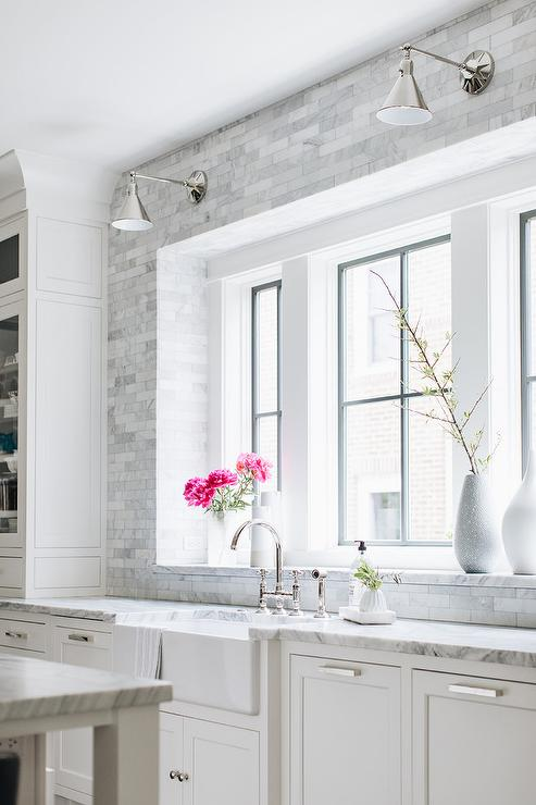 Gray Marble Staggered Tiles Around Kitchen Window Transitional Kitchen