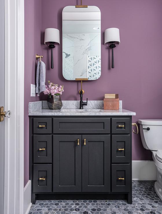 Black Washstand On Purple Wall, Purple Bathroom Vanity