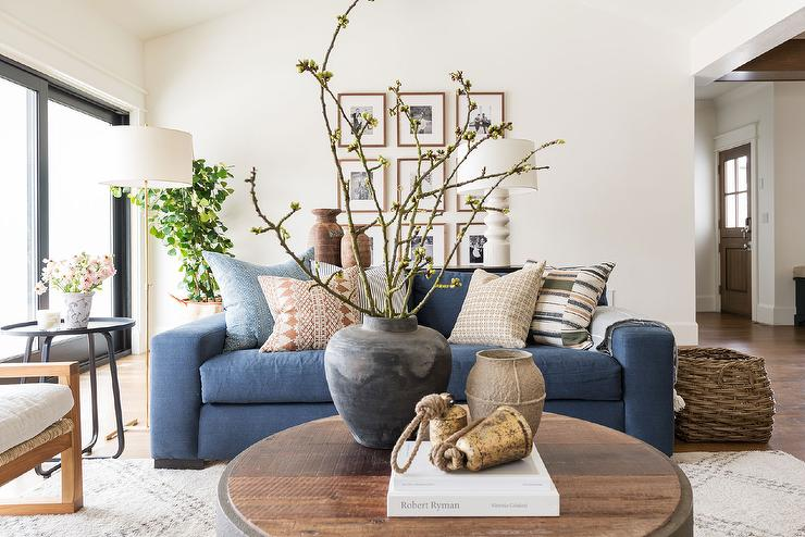 Denim Blue Sofa With Round Wooden Coffee Table Cottage Living Room