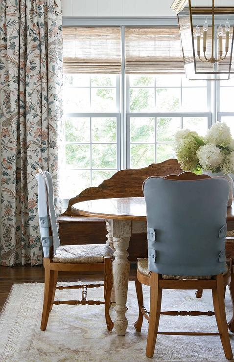 Oval French Country Dining Table With Rush Seat Dining Chairs Country Dining Room