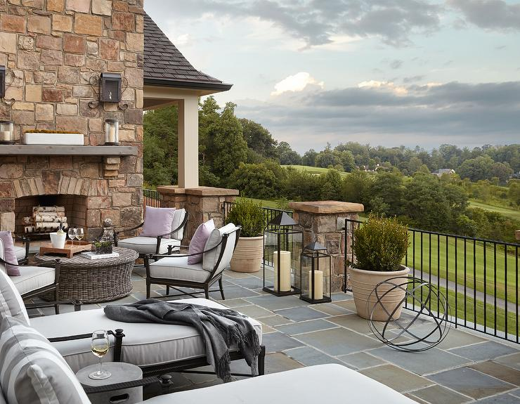 Wrought Iron Chairs With Round Wicker Coffee Table Transitional Deck Patio