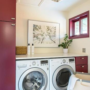 Red And Gray Laundry Room Design Ideas
