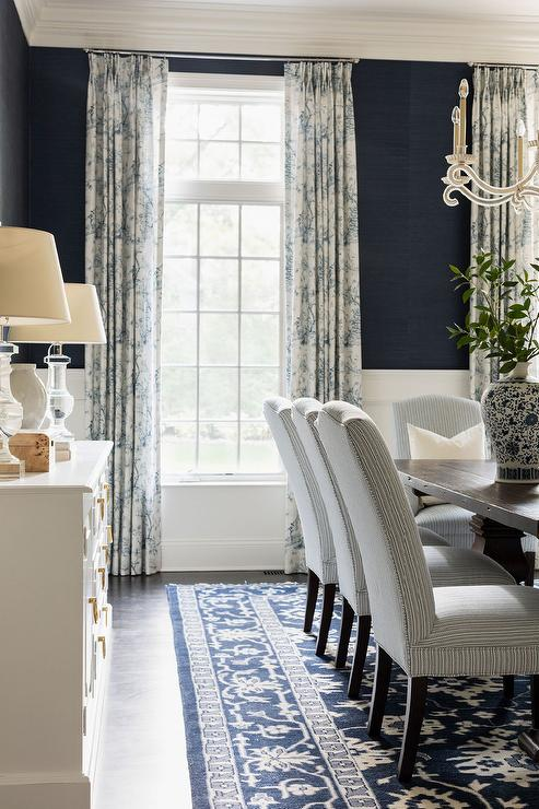 Blue And Brown Dining Room With Navy, Navy Grasscloth Wallpaper Dining Room