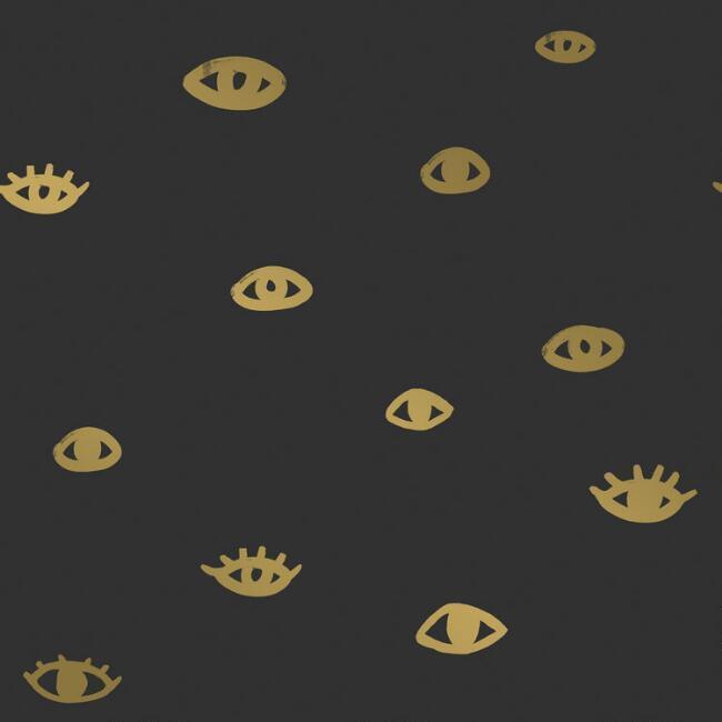 Eyes Black Gold Peel Stick Wallpaper