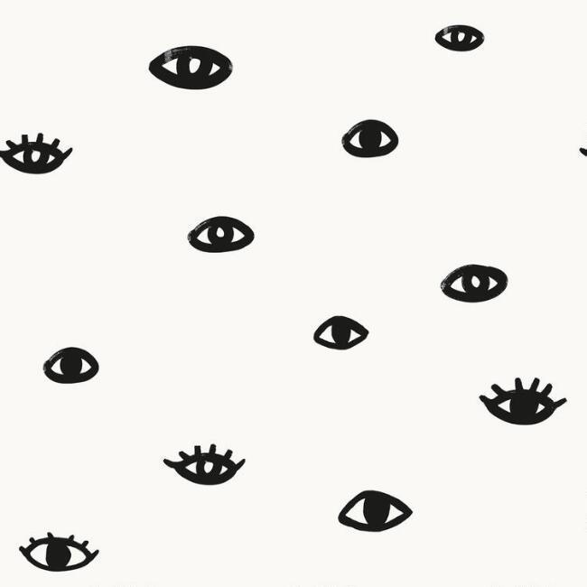 Eyes White Black Peel Stick Wallpaper