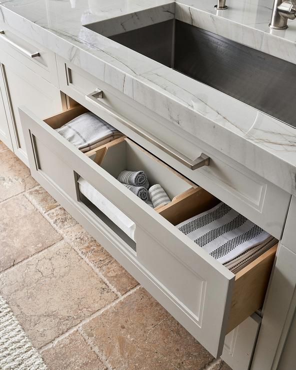 Kitchen Towel Drawer Under Stainless Steel Sink Transitional Kitchen