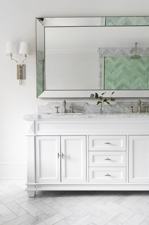Large Beveled Beaded Mirror Over White Dual Bath Vanity - Transitional -  Bathroom