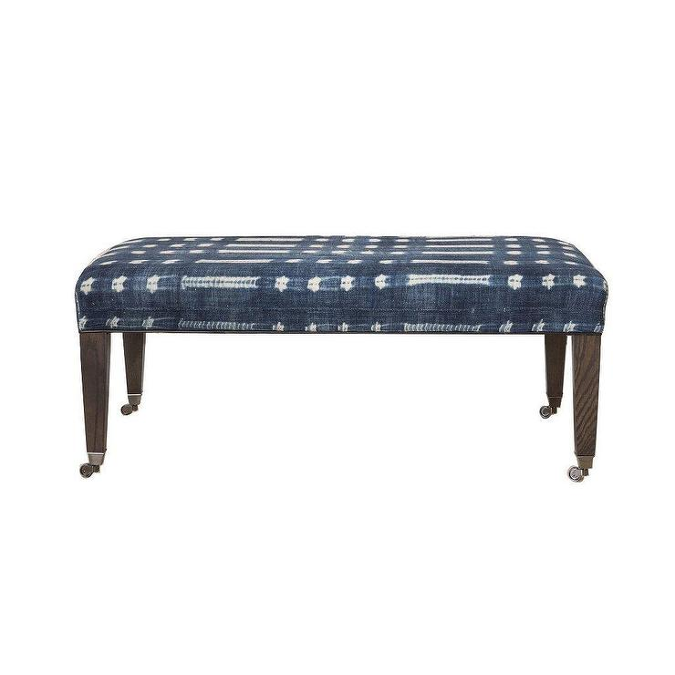 The Ida Blue White Tie Dyed Upholstered Bench