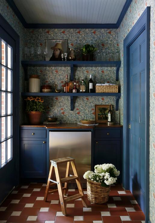 Blue Farmhouse Pantry With Vintage Red Floor Tiles Cottage Kitchen