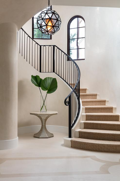 decorative wrought iron indoor stair railings buy.htm wrought iron curved staircase railing mediterranean entrance foyer  wrought iron curved staircase railing