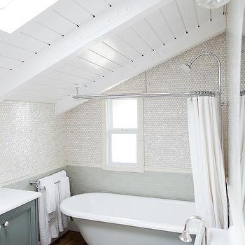 Hidden Bathroom Curtain Rod Design Ideas