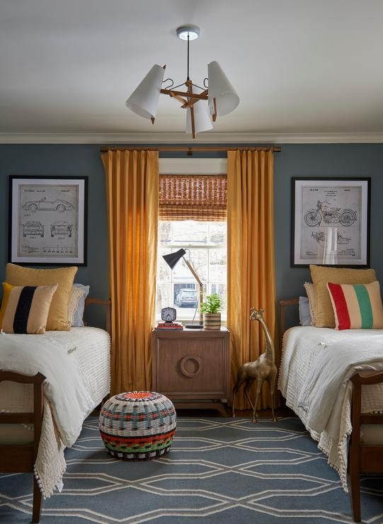 Shared Boys Bedroom With Mustard Yellow, Boys Room Curtains