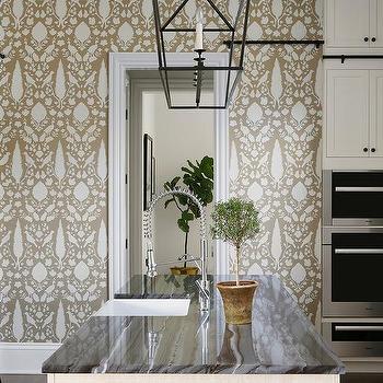 Black And Gold Kitchen Wallpaper Design Ideas