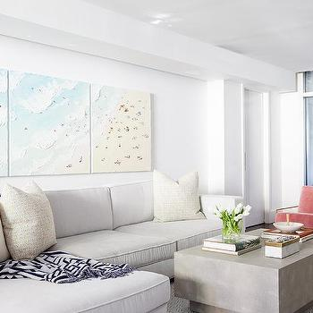 Living Room Triptych Aerial Beach Art Design Ideas